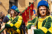 At the pageant that precedes the Palio race, representatives of each neighbourhood parade in traditional costume, Siena, Tuscany, Italy, Europe