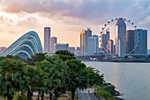 Singapore skyline, Cloud Forest Dome and Singapore Flyer from Gardens by the Bay at dusk, Singapore, Southeast Asia, Asia