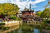 View of traditional and contemporary Chinese architecture in Yu Garden, Shanghai, China, Asia