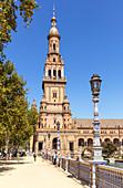 Plaza de Espana North Tower (Torre Norte), Maria Luisa Park, Seville, Andalusia, Spain, Europe