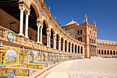 Plaza de Espana with ceramic tiled alcoves and arches, Maria Luisa Park, Seville, Andalusia, Spain, Europe