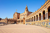 Seville Plaza de Espana with ceramic tiled alcoves and arches, Maria Luisa Park, Seville, Andalusia, Spain, Europe
