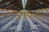 View of Terracotta Warriors in the Tomb Museum, UNESCO World Heritage Site, Xi'an, Shaanxi Province, People's Republic of China, Asia