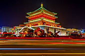 View of famous Bell Tower in Xi'an city centre at night, Xi'an, Shaanxi Province, People's Republic of China, Asia