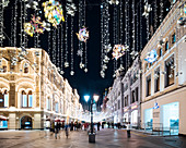 Christmas Lights on Nikolskaya Street, Moscow, Moscow Oblast, Russia, Europe