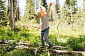 USA, Utah, Uinta National Park, Girl (2-3) walking on log in forest