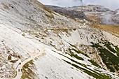 Mountain path and small chapel, Dolomiti di Sesto Natural Park