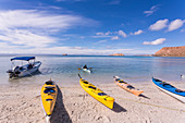 colorful kayaks, Isla Espiritu,Sea of Cortes