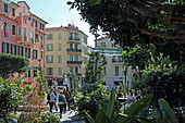 Bistrots on the green, car-free square of Rue Lorédan Larchey, Menton, Provence-Alpes-Côte d'Azur, France