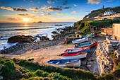 Boats on the slipway at Cape Cornwall near St Just in the far west of Cornwall.