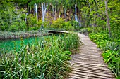 Large (Great) waterfall. Veliki Slap. Plitvice Lakes National Park. Lika Plješivica mountain range . The park falls within two counties Lika-Senj and Karlovac . UNESCO World Heritage Site, Croatia