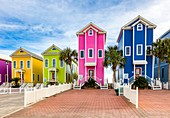 Colorful beach houses on St George Island in the panhandle or forgotten coast area of Florida in the United States