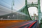 Traffic on Freedom Bridge in Budapest, Hungary.