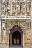 Main entrance portal of Gloucester Cathedral, Cotswolds, Cloucestershire, England