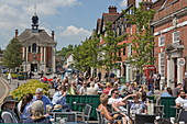 Market Place with cafes and Town Hall, Henley-upon-Thames, Oxfordshire, England