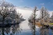 Winter idyll at the Kochelsee spout of the Loisach, Bavaria, Germany.