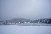 Blick über den gefrorenen Geroldsee auf schneebedeckte Landschaft, Krün, Bayern, Deutschland.