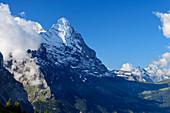 View of Eiger and Kleine Scheidegg, from Grosse Scheidegg, Grosse Scheidegg, Bernese Oberland, UNESCO World Natural Heritage Swiss Alps Jungfrau-Aletsch, Bernese Alps, Bern, Switzerland