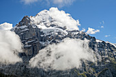 Wetterhorn in clouds, from First, Grindelwald, Bernese Oberland, UNESCO World Natural Heritage Swiss Alps Jungfrau-Aletsch, Bernese Alps, Bern, Switzerland