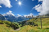 Several people stand on cliff walk with a view of Schreckhorn, Fiescherhorn and Eiger, Tissot Cliff Walk, First, Grindelwald, Bernese Oberland, UNESCO World Heritage Site Swiss Alps Jungfrau-Aletsch, Bernese Alps, Bern, Switzerland