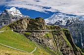 Cliff Walk with a view of Wetterhorn and Schreckhorn, Tissot Cliff Walk at First, Grindelwald, Bernese Oberland, UNESCO World Natural Heritage Swiss Alps Jungfrau-Aletsch, Bernese Alps, Bern, Switzerland