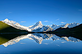 Wetterhorn, Schreckhorn, Finsteraarhorn and Fiescherhorn are reflected in mountain lake, Bachalpsee, Grindelwald, Bernese Oberland, UNESCO World Natural Heritage Swiss Alps Jungfrau-Aletsch, Bernese Alps, Bern, Switzerland