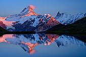 Schreckhorn und Finsteraarhorn bei Alpenglühen spiegeln sich in Bergsee, Bachalpsee, Grindelwald, Berner Oberland, UNESCO Weltnaturerbe Schweizer Alpen Jungfrau-Aletsch, Berner Alpen, Bern, Schweiz