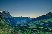 View of Eiger, Kleine Scheidegg and Grindelwald at sunrise, Grosse Scheidegg, Bernese Oberland, UNESCO World Natural Heritage Swiss Alps Jungfrau-Aletsch, Bernese Alps, Bern, Switzerland