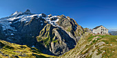 Panorama with Glecksteinhütte and Schreckhorn and Upper Grindelwald Glacier in the background, Glecksteinhütte, Bernese Oberland, UNESCO World Natural Heritage Swiss Alps Jungfrau-Aletsch, Bernese Alps, Bern, Switzerland