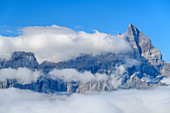 Summit of Dents du Midi protruding from clouds, from Dent de Morcles, Bernese Alps, Vaud, Vaud, Switzerland