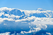 Aiguille Verte and Mont Blanc rise from the sea of clouds, from the Grande Dent de Morcles, Bernese Alps, Vaud, Vaud, Switzerland