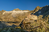 Albert Heim Hut with Galenstock, Albert Heim Hut, Urner Alps, Uri, Switzerland