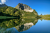 Rubihorn reflected in Untere Gaisalpsee, Unterer Gaisalpsee, Allgäu Alps, Allgäu, Swabia, Bavaria, Germany