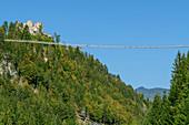 Highline 179 rope bridge with Ehrenberg castle ruins, Reutte, Tyrol, Austria