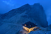 Hut Rifugio Forcella Pordoi at night, Sella Group, Dolomites, UNESCO World Natural Heritage Dolomites, Veneto, Veneto, Italy