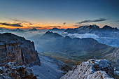 Morning mood over Antelao, Pelmo, Civetta and Marmalada, from the Sella Group, Sella Group, Dolomites, UNESCO World Natural Heritage Dolomites, Veneto, Veneto, Italy
