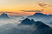 Morning mood over the Civetta, from the Sella Group, Sella Group, Dolomites, UNESCO World Natural Heritage Dolomites, Veneto, Veneto, Italy