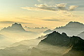 Morning mood over Pelmo, Bosconero Group and Civetta, from the Sella Group, Sella Group, Dolomites, UNESCO World Natural Heritage Dolomites, Veneto, Veneto, Italy