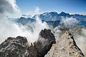 Rock towers of the Sella group in front of Marmolada, Sella group, Dolomites, UNESCO World Natural Heritage Dolomites, Veneto, Veneto, Italy