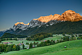 Snow-covered Reiteralm in the morning light, Ramsau, Berchtesgaden, Berchtesgaden Alps, Upper Bavaria, Bavaria, Germany