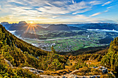 Sunrise over the Inn Valley with a view of the Kaiser Mountains, Pölven and Kitzbühel Alps, from Pendling, Bavarian Alps, Tyrol, Austria