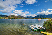 Boats in Tegernsee with Bodenschneid and Wallberg in the background, Tegernsee, Upper Bavaria, Bavaria, Germany