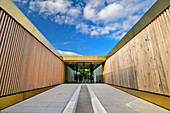Entrance of the iodine sulfur bath Bad Wiessee, architect: Matteo Thun, Bad Wiessee, Tegernsee, Upper Bavaria, Bavaria, Germany