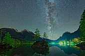 Milky Way over Hintersee with rock islands and Hochkalter in the background, Hintersee, Berchtesgaden, Berchtesgaden National Park, Berchtesgaden Alps, Upper Bavaria, Bavaria, Germany