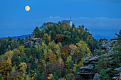 Full moon over Gohrisch, from Gohrisch, Saxon Switzerland National Park, Saxon Switzerland, Elbe Sandstone, Saxony, Germany