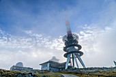 Fog mood at the Brocken summit with transmitter systems, Brocken, Harz National Park, Harz, Saxony-Anhalt, Germany
