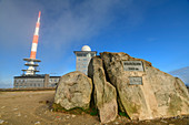 Brocken summit with transmitter systems, Brocken, Harz National Park, Harz, Saxony-Anhalt, Germany
