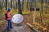Woman while hiking looks in mirror, forest promenade, Hainich National Park, Thuringia, Germany