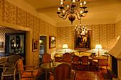 Fireplace room in Hotel Tällbergsgården, Tälllberg am Siljansee, Dalarna, Sweden