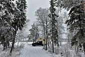 Ein Wohnmobil parkt in der Winterlandschaft am See, Storuman, Västerbottens Län, Schweden